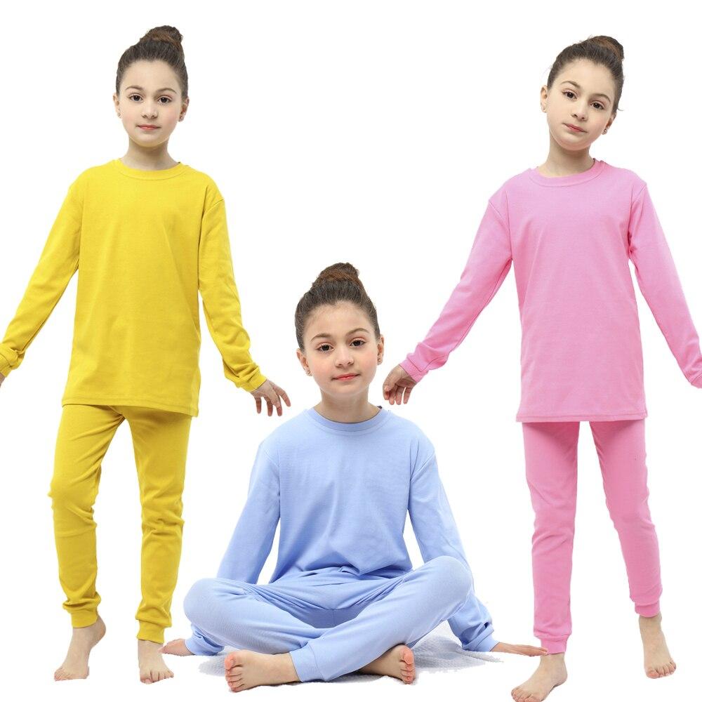 2-12y crianças pijamas meninos meninas pijamas crianças sleepwear manga longa casual sólido pijamas roupas de bebê conjuntos de pijama de algodão azul