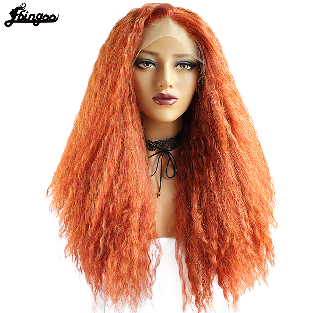 Ebingoo Free Part High Temperature Fiber Perruque Wigs Long Orange Kinky Curly Synthetic Lace Front Wig For Women