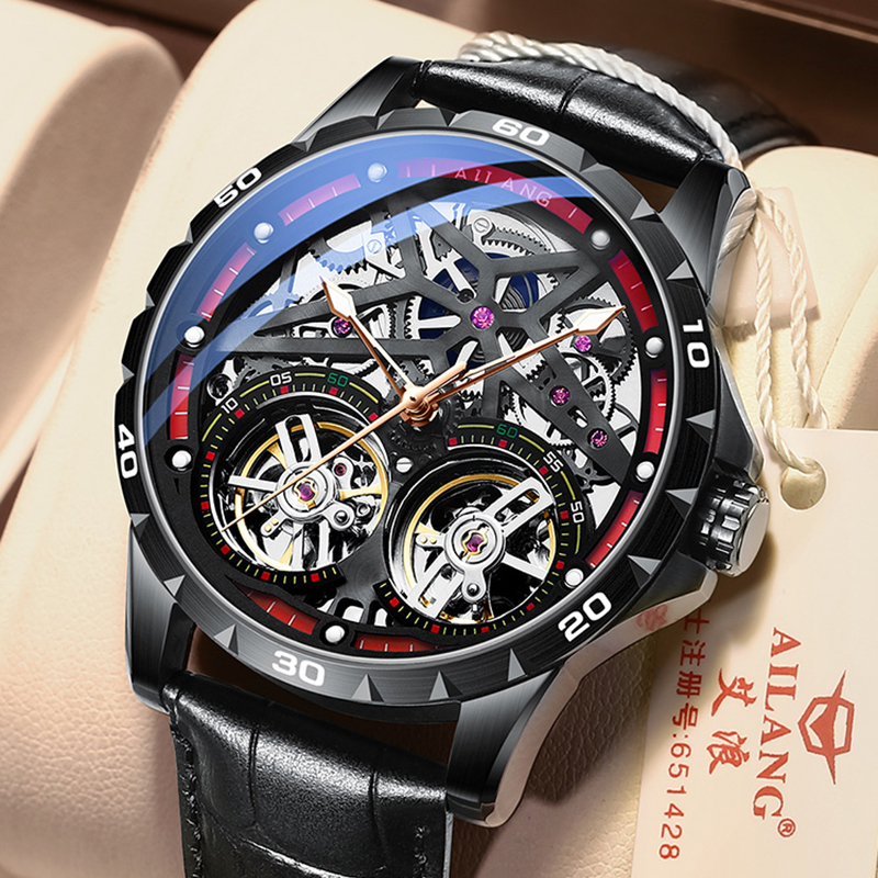 AILANG Original Men's Watch Double tourbillon watch Automatic Hollow-out Machine Watch Men Luminous Waterproof 2020 New design