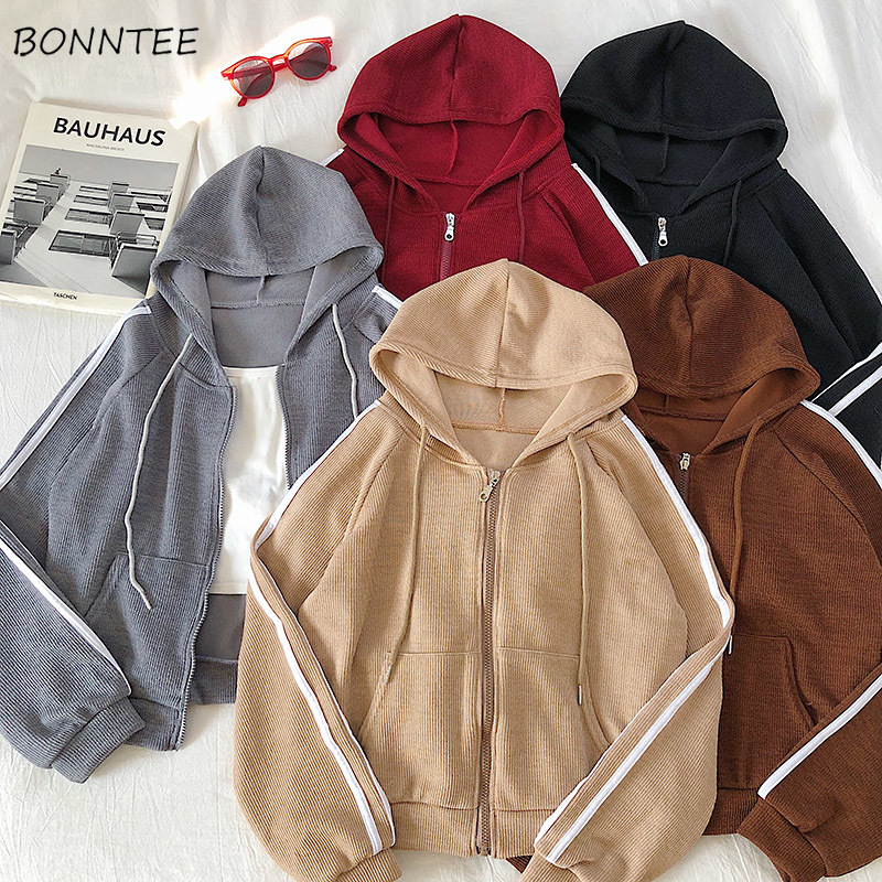 Hoodies Womens Harajuku Street Style Zip-up Solid Oversized Hoodie Women Simple Trendy Daily Leisure Loose Hooded Pockets Soft