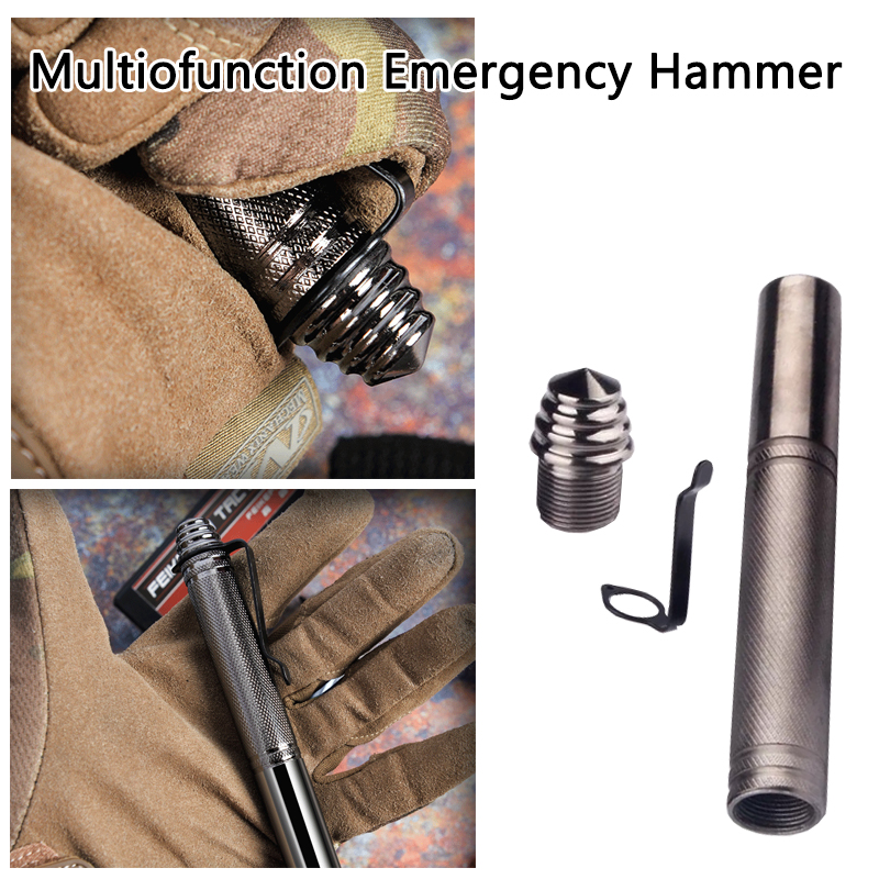 Outdoor Telescopic Personal Safty Stick Tactical Pen Hammer Self Defense Anti-Wolf Rod Protection Car Camping Broken Window Tool
