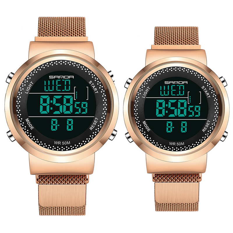 Famous Brand Fashion Couple Watch Stainless Steel Gold Couple Wristwatches Lovers Gift Clock Reloj Mujer Digital Quartz Clock
