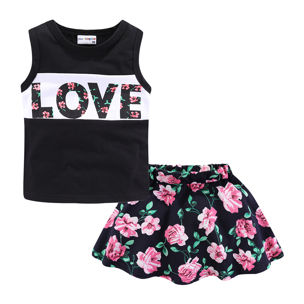Mudkingdom Girls Clothes Set Love Summer Kids Tank Top and Skirt Outfit Children Cute Suits Fashion Happy Holiday Easter 2