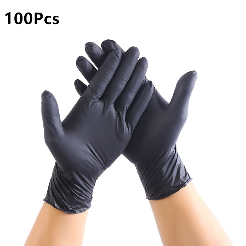100Pcs Black Disposable Latex Gloves For Home Cleaning/Food/Rubber/Garden Tattoo Gloves Universal For Left And Right Hand M L XL