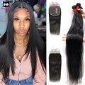 5x5 Кружева Закрытие с пряди бразильских человеческих волос пряди с закрытием Rucycat 32 34 36 дюймов Пряди и 6x6 застежка Волосы Remy