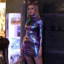 Autumn Fashion Reflective Holographic Dress Turtleneck Long Sleeve Metallic Sexy Bodycon Mini