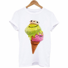 Fashion Tee Shirt White T-shirts Kawaii Christmas Shirts Plus Size NEW Womens Rabbit Animal Pattern Cartoon Print Tops