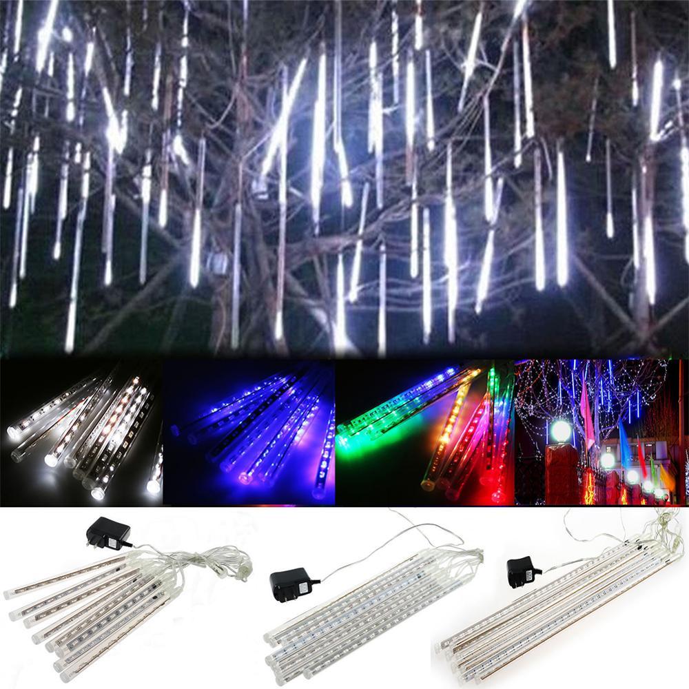 New Arrival 30cm 192 LED Lights Meteor Shower Rain Effect Outdoor Light 8 Tube Xmas Snowfall Tree Decor Christmas Holiday Light