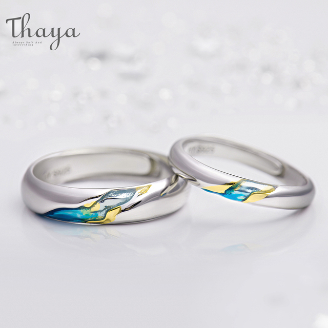 Thaya S925 Silver Couple Rings TheOtherShoreStarry Design Rings  for Women Men Resizable Symbol Love Wedding  Jewelry Gifts 1