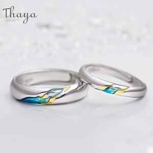 Image 2 - Thaya S925 argent Couple anneaux lautre rive étoilé Design anneaux pour femmes hommes redimensionnable symbole amour mariage bijoux cadeaux