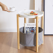 Bamboo Round End Table with Storage Basket Side Table with Serving Tray