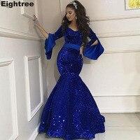 Eightree Royal Blue Sequined Mermaid Evening Dresses Long Sleeves Arabic Prom Dress Vestidos De Gala Largos Formal Party Dress