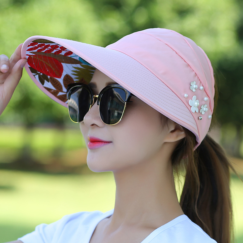 Sun Hats For Women Visors Hat Fishing Beach Hat UV Protection Cap Casual Outdoor Womens Spring Summer Cap Ponytail Wide Brim Hat