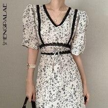 SHENGPALAE 2020 New Summer Women Vintage Loose High Waist Slim Was Thin Elegant Hit Color V-neck Max
