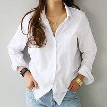 Camisas de manga larga con botones para Mujer, blusas informales con cuello vuelto, blusa Blanca