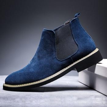 Men's Winter Autumn Chelsea Boots Genuine Leather Cow Suede Short Plush SnowShoe Warm Dress Outdoor Large Size 46 Grey Footwear