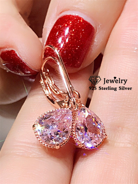 S925 Silver Drop Earrings For Women Water Drop Pink Cubic Zirconia Wedding Engagement Bridal Jewelry Dangle Earring CCE624 1