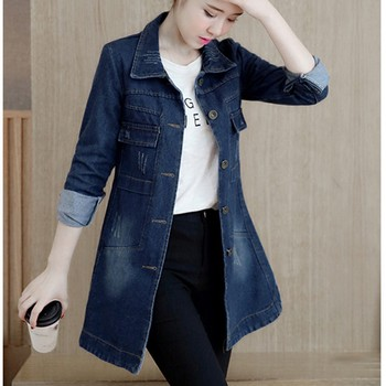 Basic Long Jeans Coats Women Slim Ripped Denim Jacket Femme Elegant Vintage Frayed Jackets Outwear Casacos Feminino#J30 2