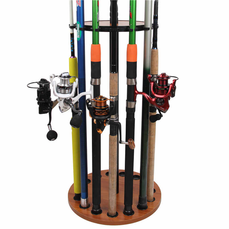 Wooden cylinder Fishing Rod Display Rack Holder MDF board Shelf Bracket 15 Slots Stand Supporting Rods Fishing Tackle Tool