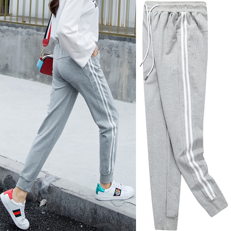 Stripes Athletic Pants Women's Autumn Handsome GIRL'S Students Korean-style Harajuku Wind BF Loose-Fit Fashion Beam Leg Cotton C