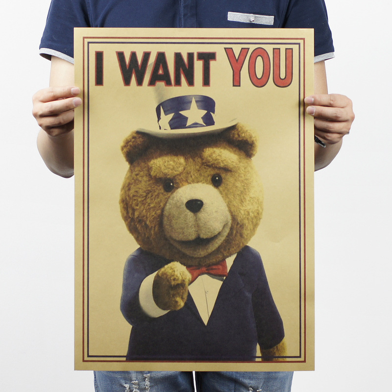 I Want You Teddy Bear Vintage Kraft Paper Classic Poster Map Home Decoration Garage Wall Decor Art  Retro School Prints