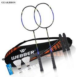 2 uds. Juego de raquetas de bádminton profesional juego doble familia raqueta de bádminton ligero juego de entrenamiento raqueta de Bádminton