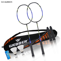 2pcs Professional Badminton Rackets Set Family Double Badminton Game Racquet Light Weight Playing Trainning Badminton Raquette