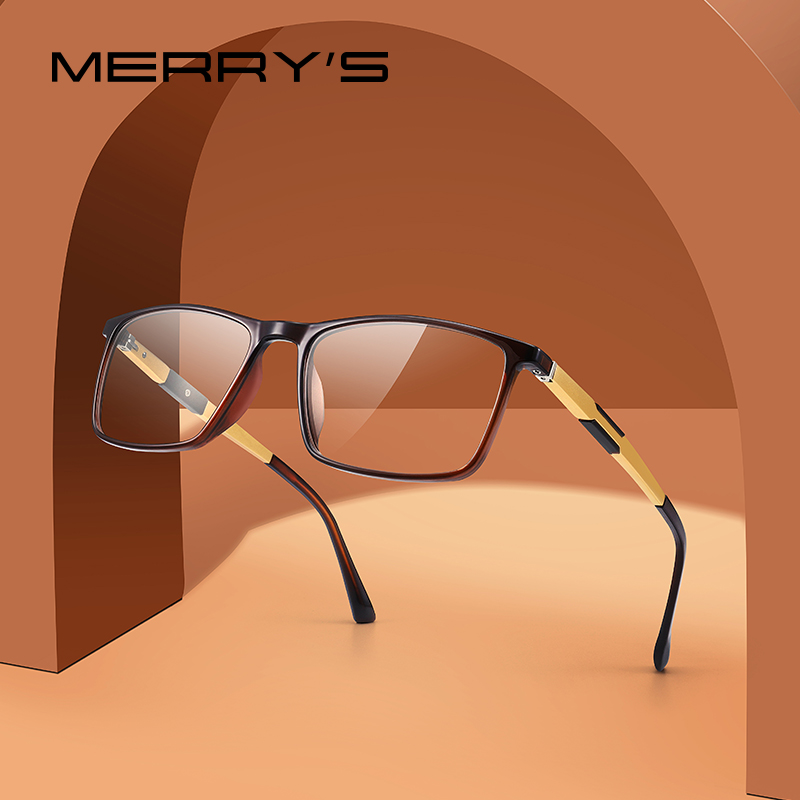 MERRYS DESIGN Men Fashion Square Glasses Frame Aluminum Temples Myopia Prescription Optical Eyewear S2155