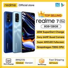 Realme 7 Pro Globale Version Smartphone 65W Schnelle Ladung Fingerprint Entsperren Vollbild Mobiltelefon Snapgragon 720G Spiel Handy