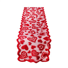 цены Love Heart Tablecloth Table-Runner Valentine Christmas Wedding Kitchen Dining Living Bed Room Party Lace Love-Hearts Home Supply