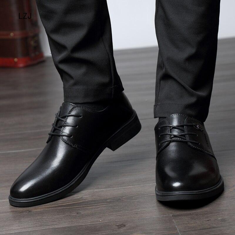 LZJ Nuovi 2019 Uomini Scarpe Formali Punta a punta Degli Uomini del Cuoio Genuino di Business Scarpe Oxford Scarpe Per Gli Uomini Pattini di Vestito Herren schuhe - 5