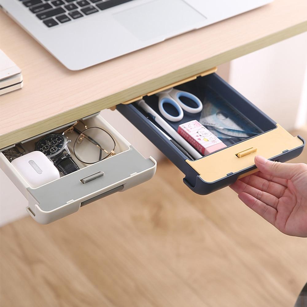 Drawer Type Storage Box Desk Bottom Hanging Hidden Pen Case Desk Organizer Organizer For Cosmetics Kitchen Drawer Organizer