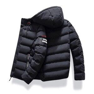 Image 4 - 2019 marke Mode Herbst Winter Jacke Parka Männer Frauen Mantel Mit Kapuze Warm Herren Winter Mantel Casual Fit Mantel 4XL Parkas männlichen