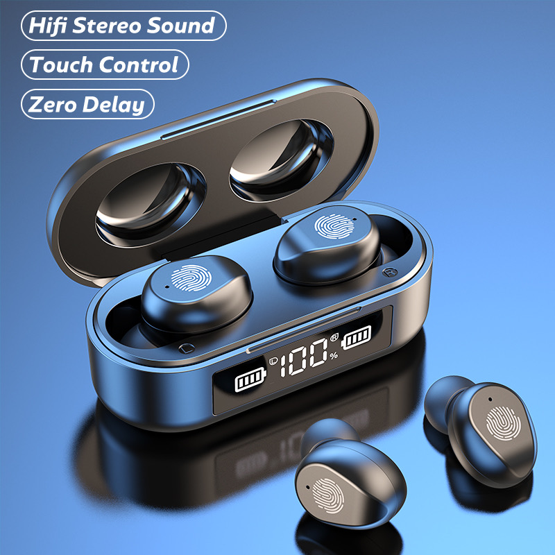TWS Bluetooth Drahtlose Kopfhörer Sport Wasserdichte Ohrhörer Bluetooth 5,0 Kopfhörer Mit Mikrofon Touch Control 9D HiFi Headset