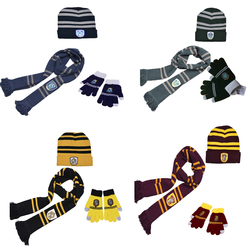 3pcs Hogwarts School Scarf Ravenclaw Hermione long Scarves Slytherin Hufflepuff Neckerchief for Women Men Boy Gloves girl hat