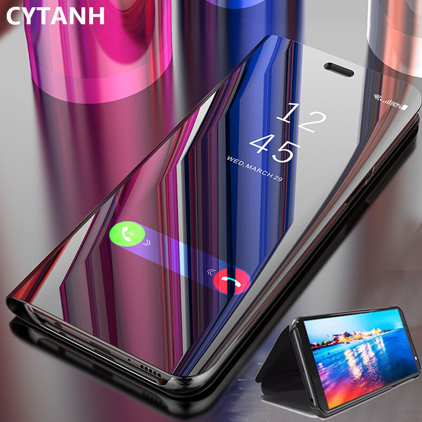 Ayna Flip Case Redmi not 8 Pro 7 6 5 7a 6a 4a standı deri kapak için Xiaomi Mi 9t xiaomi xiaomi A2 Lite görünüm manyetik Coque