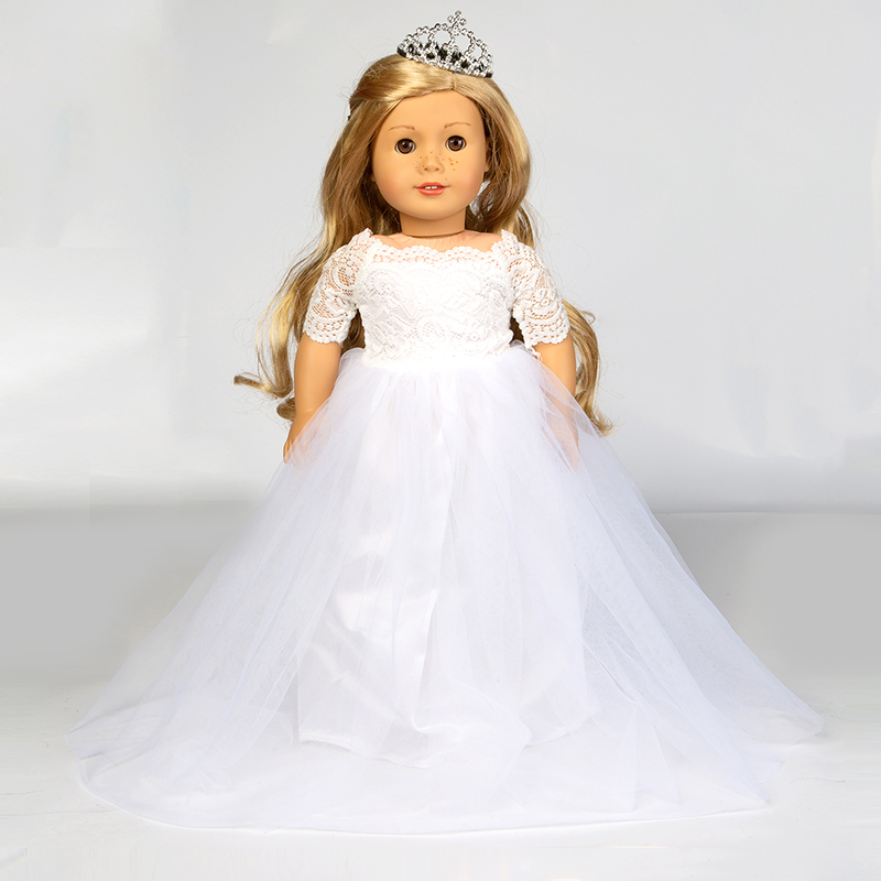 Elegant White Wedding Dress For American Girl Doll 18 Inch Ddoll Clothes