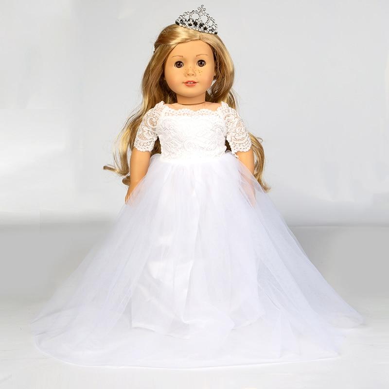Elegant White Wedding Dress For American Girl Doll 18 Inch Ddoll Clothes