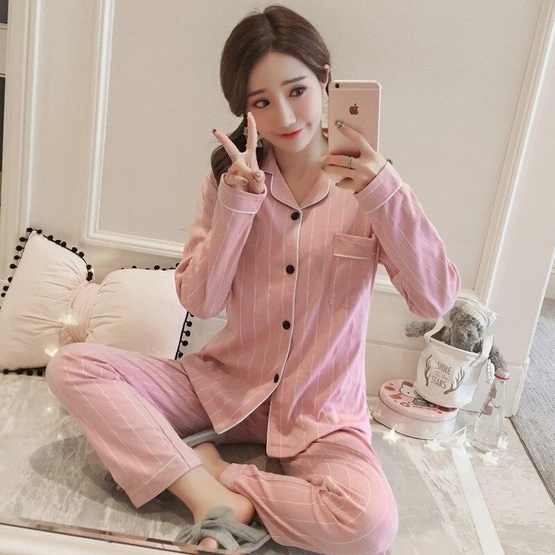 [Bean Paste Stripes] [Large Amount] Autumn Cardigan Long Sleeve Trousers Pajamas Women's Cartoon Homewear Set