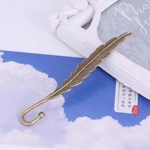 1 szt. Retro kształt piór zakładka kreatywna metalowa zakładka do czytania DIY prezenty studenci papiernicze