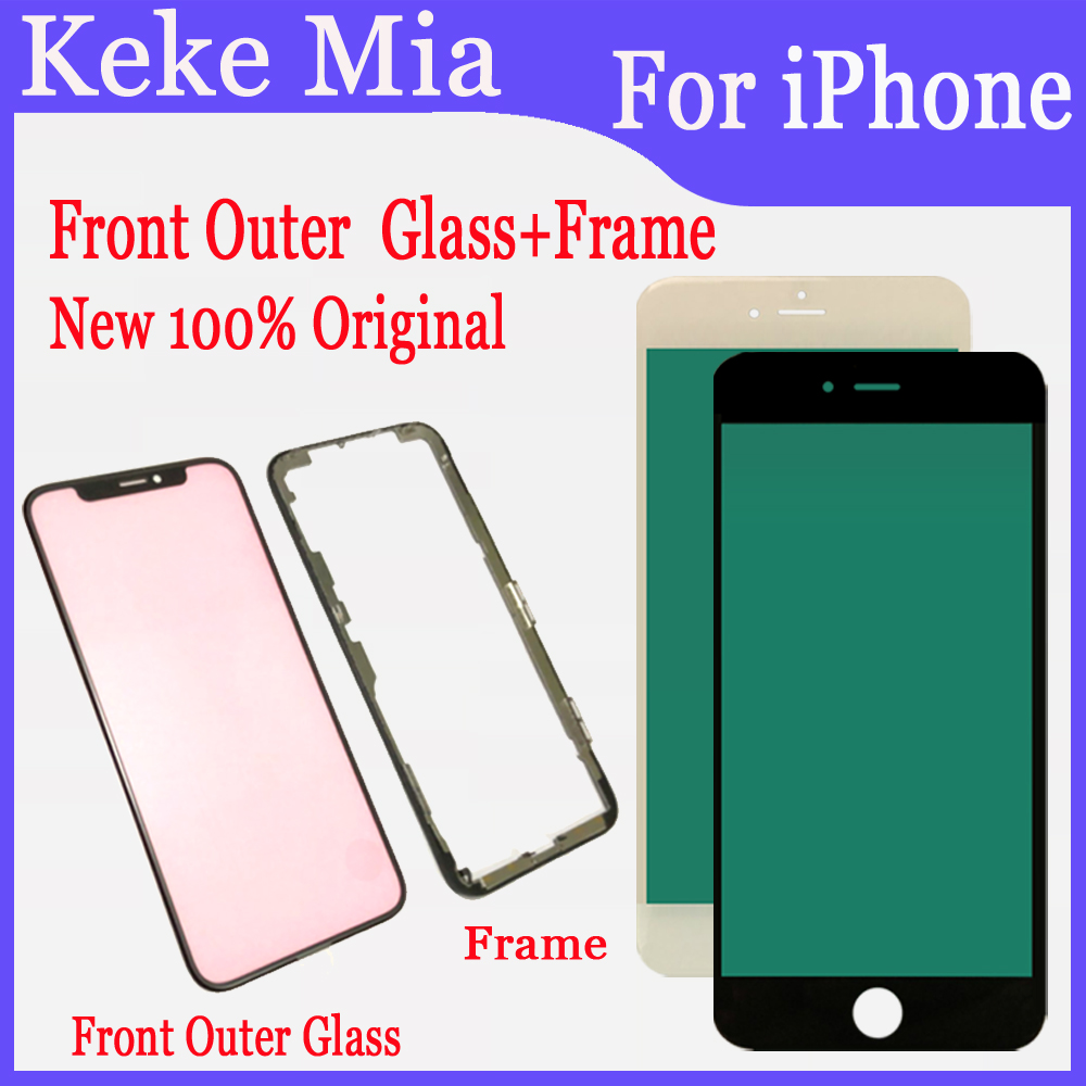 100% New Original For IPhone  IPhone 7 8 7Plus 8 Plus X XS Front Outer Glass+Frame Touch Screen Front Glass Replacement