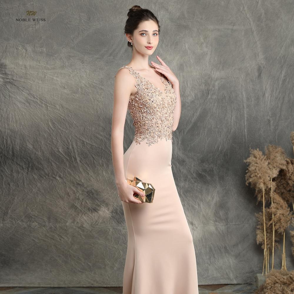 Image 3 - prom dresses 2019 black mermaid elastic party dress sexy vestidos  de gala v neck appliques beading prom gownProm Dresses   -