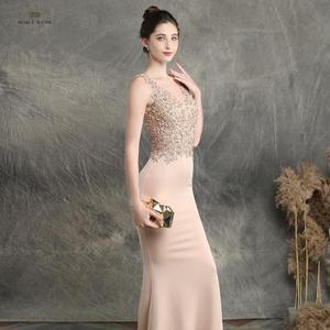 Image 3 - prom dresses 2019 black mermaid elastic party dress sexy vestidos de gala v neck appliques beading prom gown