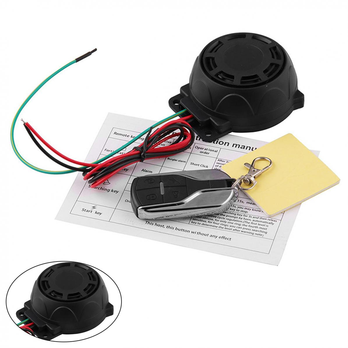 125db 12V Motorcycle General Purpose Burglar Alarm Scooter Alarm With  Engine Start Remote Control Key For Motorcycle Anti-theft
