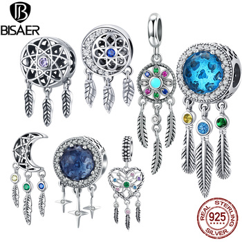 BISAER 925 Sterling Silver Beads Dreamcatcher Charms Dream catcher Fit Charm Bracelet Vintage Jewelry ECC330