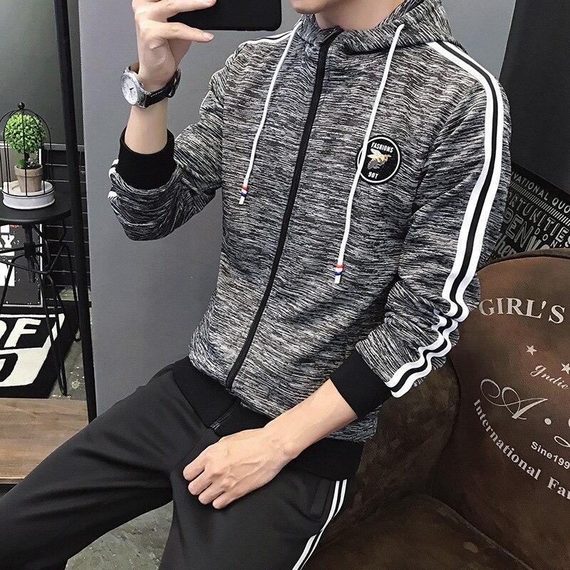 MEN'S Sport Suit Fashion Hooded Leisure Suit MEN'S Sweater Two-Piece Set Teenager Trend Set Men's