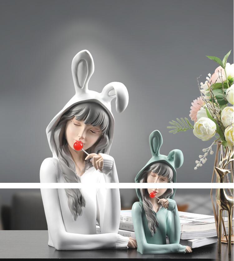 Moderno bonito lollipop meninas resina ornamentos casa