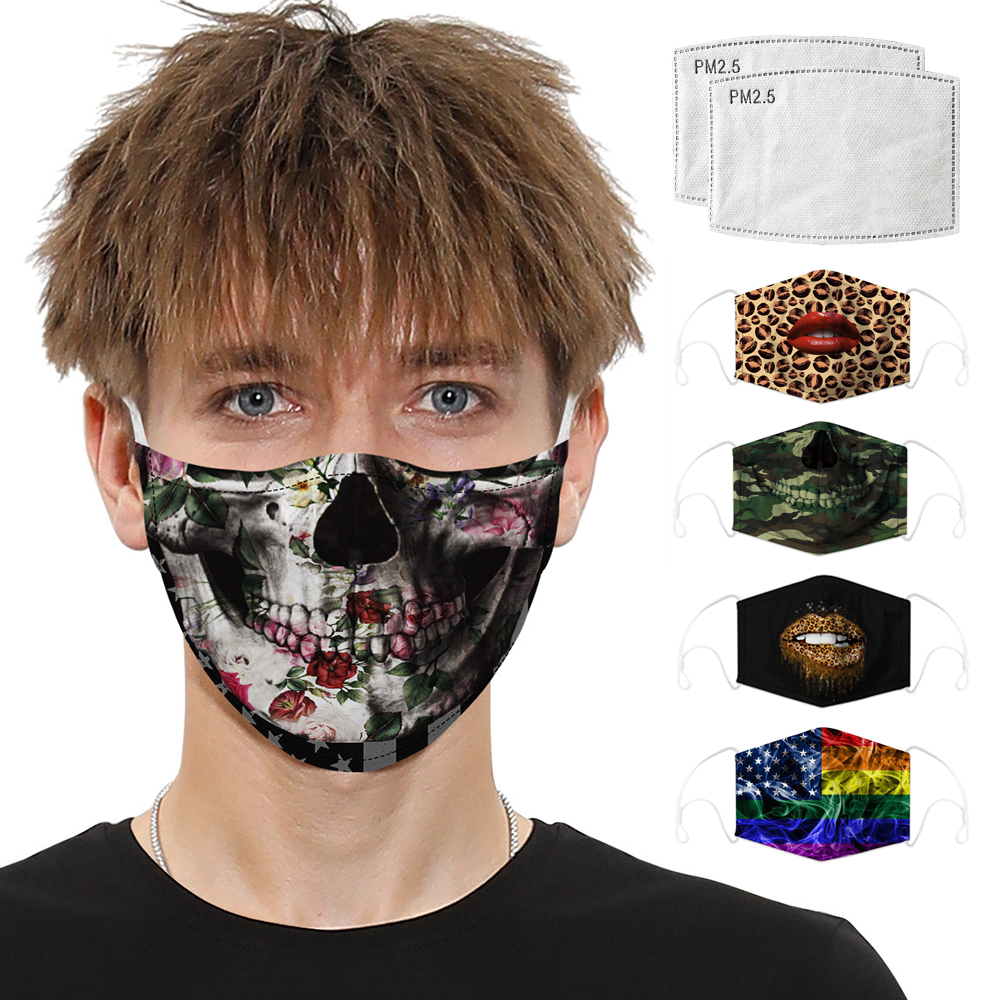 Face Masks Digital Printing Respirator Men Women Mouth Caps Face Shield Activated Carbon Filter Dust Protective Mask Reusable
