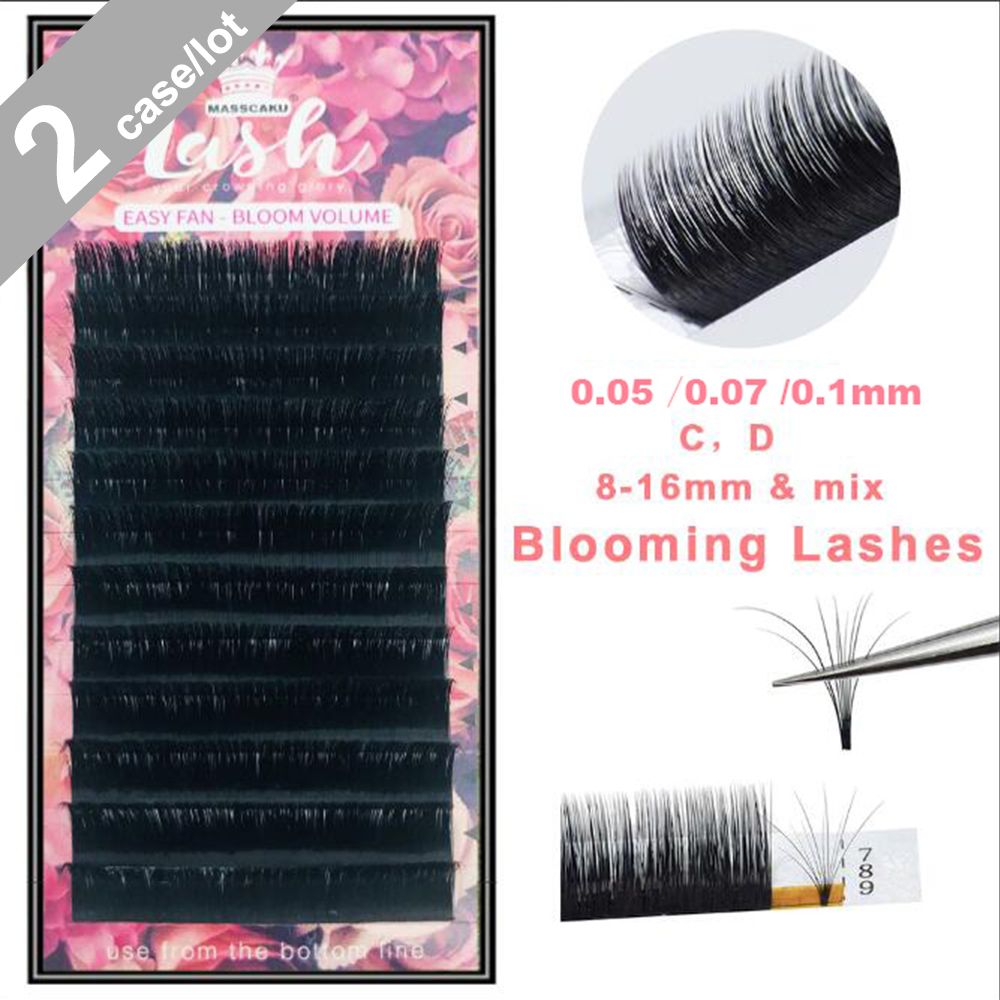 2Cases/Lot Easy Fan Lashes Makeup Bloom Eyelash Extension Austomatic Flowering Fast Fan Self-Making Fans Volume Lashes Supplies