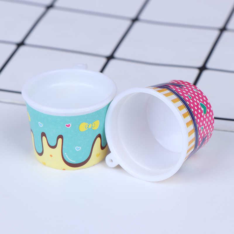 4 pz/set Ice Cream Cups/Pop Corn Tazze/Miniature Piatti e Posateria/Fairy Garden Gnome/Muschio Terrario Decorazione /Bonsai FAI DA TE Accessori della Bambola